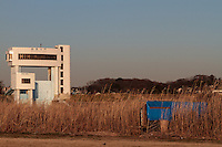 A homeless shelter along the side of the Edogawa River near Shibamata, Tokyo, Japan Monday February 16th 2015.