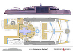 Pictured:  The Galileo² layout.<br /> <br /> An incredible £450 billion pound yacht is so large it will be used as 'floating marina' and even boasts an 80 metre-long pier.  The extraordinary 200 metre long catamaran has been designed to 'shift the limits of what is feasible' and has an enormous 'harbour area' beneath the main deck.<br /> <br /> It will also have a 500 square metre outdoor pool, and a 'amphitheatre style' open air cinema.  The Galileo², created by Beiderbeck Designs, has been described as 'the greatest concept' ever designed.  SEE OUR COPY FOR DETAILS.<br /> <br /> Please byline: Beiderbeck Designs/Solent News<br /> <br /> © Beiderbeck Designs/Solent News & Photo Agency<br /> UK +44 (0) 2380 458800