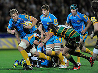 Aviva Premiership. Northampton, England. Joe Launchbury of London Wasps in action during the Aviva Premiership match between Northampton Saints and London Wasps at Franklin's Gardens on September 28. 2012 in Northampton, England.