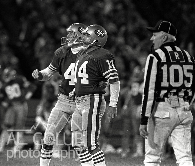 San Francisco 49ers vs Chicago Bears at Candlestick Park Monday, December 14, 1987..49ers Beat Bears 41-0.San Francisco 49ers Punter Max Runager (4) and Kicker Ray Wersching (14) watch for field goal to clear the uprights...