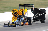 Sept. 5, 2010; Clermont, IN, USA; NHRA top fuel dragster driver Troy Buff during qualifying for the U.S. Nationals at O'Reilly Raceway Park at Indianapolis. Mandatory Credit: Mark J. Rebilas-
