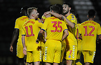 Bolton Wanderers' Ali Crawford celebrates scoring the opening goal with team-mates<br /> <br /> Photographer Kevin Barnes/CameraSport<br /> <br /> EFL Leasing.com Trophy - Northern Section - Group F - Rochdale v Bolton Wanderers - Tuesday 1st October 2019  - University of Bolton Stadium - Bolton<br />  <br /> World Copyright © 2018 CameraSport. All rights reserved. 43 Linden Ave. Countesthorpe. Leicester. England. LE8 5PG - Tel: +44 (0) 116 277 4147 - admin@camerasport.com - www.camerasport.com