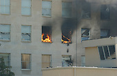 Washington, DC - September 11, 2001 -- Fire in the windows of the Pentagon following the terrorist attack in Washington, D.C on Tuesday, September 11, 2001..Credit: Ron Sachs / CNP