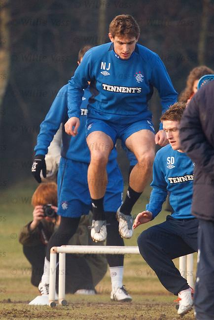 Nikica Jelavic jumps over the mini hurdles