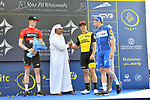 Elia Viviani (ITA) Quick-Step Floors wins Stage 2 The Ras Al Khaimah Stage of the Dubai Tour 2018 the Dubai Tour&rsquo;s 5th edition, running 190km from Skydive Dubai to Ras Al Khaimah, Dubai, United Arab Emirates. 7th February 2018.<br /> Picture: LaPresse/Massimo Paolonei | Cyclefile<br /> <br /> <br /> All photos usage must carry mandatory copyright credit (&copy; Cyclefile | LaPresse/Massimo Paolone)