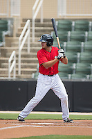 Christian Stringer (8) of the Kannapolis Intimidators at bat against the Lakewood BlueClaws at CMC-Northeast Stadium on May 17, 2015 in Kannapolis, North Carolina.  The Intimidators defeated the BlueClaws 4-1.  (Brian Westerholt/Four Seam Images)