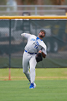 Central Connecticut State Blue Devils outfielder Ken Wright (32) during warmups before a game against the North Dakota State Bison on February 23, 2018 at North Charlotte Regional Park in Port Charlotte, Florida.  North Dakota State defeated Connecticut State 2-0.  (Mike Janes/Four Seam Images)