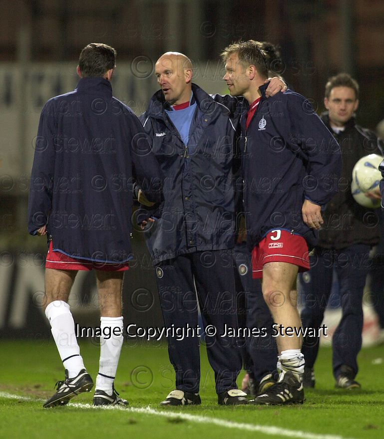 09/04/2003                   Copright Pic : James Stewart.File Name : stewart-dundee v falkirk 19.COYLE, DUFFY AND HUGHES AT THE END OF THE GAME....James Stewart Photo Agency, 19 Carronlea Drive, Falkirk. FK2 8DN      Vat Reg No. 607 6932 25.Office     : +44 (0)1324 570906     .Mobile  : +44 (0)7721 416997.Fax         :  +44 (0)1324 570906.E-mail  :  jim@jspa.co.uk.If you require further information then contact Jim Stewart on any of the numbers above.........