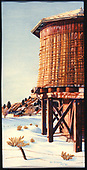 Photograph of William Stripe watercolor of Tres Piedras water tank on a Christmas card.<br /> D&amp;RGW  Tres Piedras, NM  Taken by Stripe, William (artist) - winter 1993