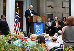 Bud Hicks, commissioner of the Nevada Sesquicentennial Commission, speaks at the USS Nevada Centennial of Launch ceremony at the Capitol, in Carson City, Nev., on Friday, July 11, 2014.<br /> Photo by Cathleen Allison
