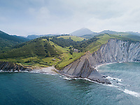 Aerial drone photo, The cliffs of Flysch near Zumaia, Basque Country, Spain