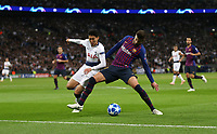 Tottenham Hotspur's Son Heung-Min and Barcelona's Gerard Pique<br /> <br /> Photographer Rob Newell/CameraSport<br /> <br /> UEFA Champions League Group B - Tottenham Hotspur v Barcelona - Wednesday 3rd October 2018 - Wembley Stadium - London<br />  <br /> World Copyright © 2018 CameraSport. All rights reserved. 43 Linden Ave. Countesthorpe. Leicester. England. LE8 5PG - Tel: +44 (0) 116 277 4147 - admin@camerasport.com - www.camerasport.com