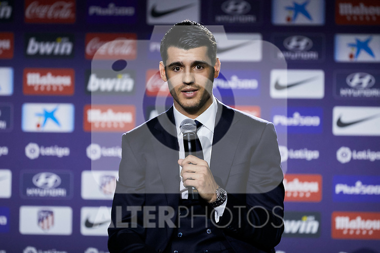 Alvaro Morata during the official presentation of Alvaro Morata as new player of Atletico de Madrid at Wanda Metropolitano Stadium in Madrid, Spain. January 29, 2019. (ALTERPHOTOS/A. Perez Meca) (ALTERPHOTOS/A. Perez Meca)