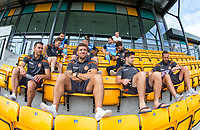 Adam El-Abd sits with his new teammates ahead of the pre season friendly match between Slough Town and Wycombe Wanderers at Arbour Park Stadium, Slough, England on 8 July 2017. Photo by Andy Rowland.