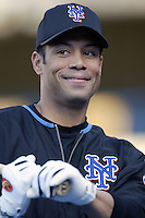 Roberto Alomar of the New York Mets before a 2002 MLB season game against the Los Angeles Dodgers at Dodger Stadium, in Los Angeles, California. (Larry Goren/Four Seam Images)