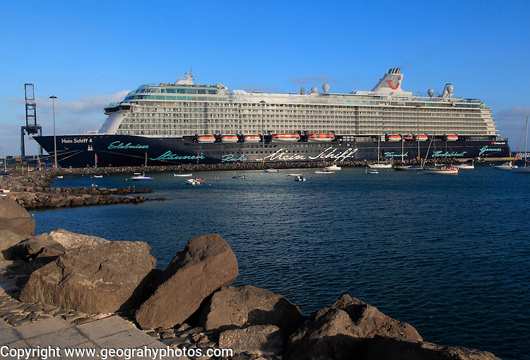 "Large German cruise ship ""Mein Schiff 4' at Puerto del Rosario, Fuerteventura, Canary Islands, Spain"