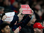 Arsenal fans hold up poster wanting their manger Unai Emery out during the UEFA Europa League match at the Emirates Stadium, London. Picture date: 28th November 2019. Picture credit should read: David Klein/Sportimage