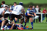 Alex Davies of Bath United passes the ball. Premiership Rugby Shield match, between Bristol Bears A and Bath United on August 31, 2018 at the Cribbs Causeway Ground in Bristol, England. Photo by: Patrick Khachfe / Onside Images