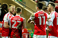 Fleetwood Town's Paddy Madden celebrates scoring his side's first goal with teammates<br /> <br /> Photographer Alex Dodd/CameraSport<br /> <br /> The EFL Sky Bet League One - Fleetwood Town v Shrewsbury Town - Tuesday 13th February 2018 - Highbury Stadium - Fleetwood<br /> <br /> World Copyright &copy; 2018 CameraSport. All rights reserved. 43 Linden Ave. Countesthorpe. Leicester. England. LE8 5PG - Tel: +44 (0) 116 277 4147 - admin@camerasport.com - www.camerasport.com