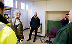 WATERTOWN, CT-011818JS03--Chris Nardi, and associate at Silver Petrucelli &amp; Associates, answers questions to contractors during a tour on Thursday for those interested in the Heminway School renovation project in Watertown. The project is to convert the former school into a new town office center. <br /> Jim Shannon Republican-American