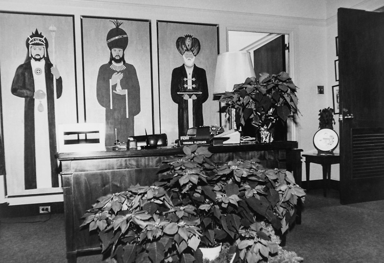 Decorated office reception desk during Christmas contest. (Photo by CQ Roll Call via Getty Images)