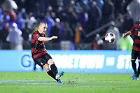 CARY, NC - DECEMBER 13: Derek Waldeck #4 of Stanford University passes the ball during a game between Stanford and Georgetown at Sahlen's Stadium at WakeMed Soccer Park on December 13, 2019 in Cary, North Carolina.