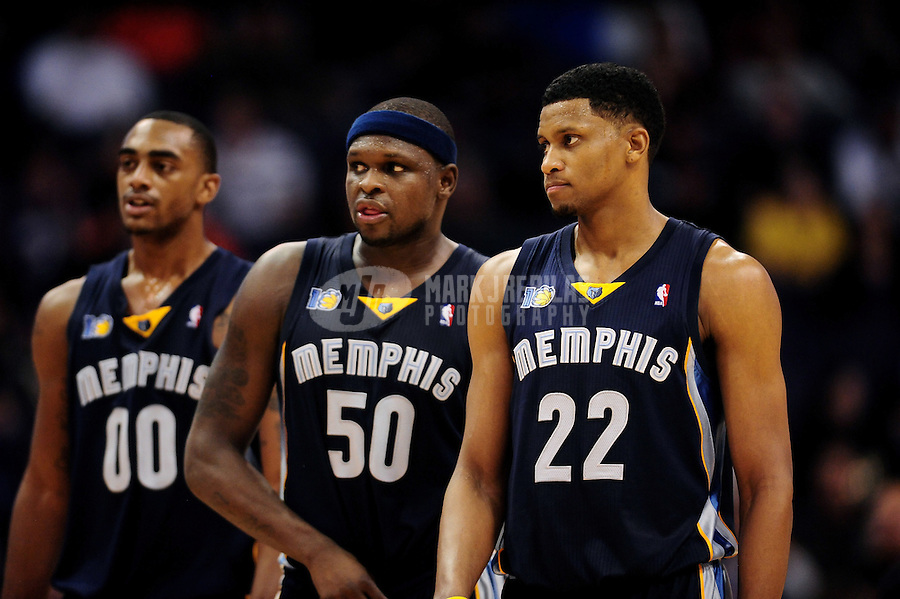 Dec. 8, 2010; Phoenix, AZ, USA; Memphis Grizzlies forward (22) Rudy Gay , forward (50) Zach Randolph and forward (00) Darrell Arthur against the Phoenix Suns at the US Airways Center. Memphis defeated Phoenix 104-98 in overtime. Mandatory Credit: Mark J. Rebilas-