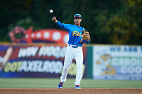 Myrtle Beach Pelicans shortstop Aramis Ademan (11) on defense against the Winston-Salem Dash at TicketReturn.com Field on May 16, 2019 in Myrtle Beach, South Carolina. The Dash defeated the Pelicans 6-0. (Brian Westerholt/Four Seam Images)
