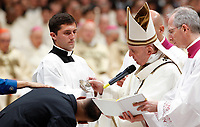 Pope Francis baptizes a man during the Easter vigil ceremony in St. Peter's Basilica at the Vatican, April 20, 2019.<br /> UPDATE IMAGES PRESS/Riccardo De Luca<br /> <br /> STRICTLY ONLY FOR EDITORIAL USE