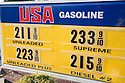 A close up of an USA Gasoline gas station price sign on March 24, 2009. Los Altos, California, USA