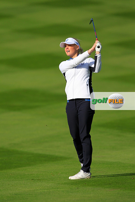 Charley Hull of Team Europe on the 7th fairway during Day 1 Foursomes at the Solheim Cup 2019, Gleneagles Golf CLub, Auchterarder, Perthshire, Scotland. 13/09/2019.<br /> Picture Thos Caffrey / Golffile.ie<br /> <br /> All photo usage must carry mandatory copyright credit (© Golffile | Thos Caffrey)