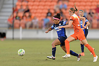 Houston, TX - Sunday June 19, 2016: Desiree Scott, Janine Beckie during a regular season National Women's Soccer League (NWSL) match between the Houston Dash and FC Kansas City at BBVA Compass Stadium.