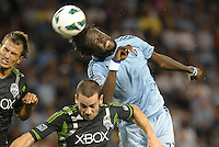 Kei Kamara (23) forward Sporting KC in action..Sporting Kansas City defeated Seattle Sounders on penalty kicks, after a 1-1 tied game to win the Lamar Hunt Open Cup at LIVESTRONG Sporting Park, Kansas City, Kansas..