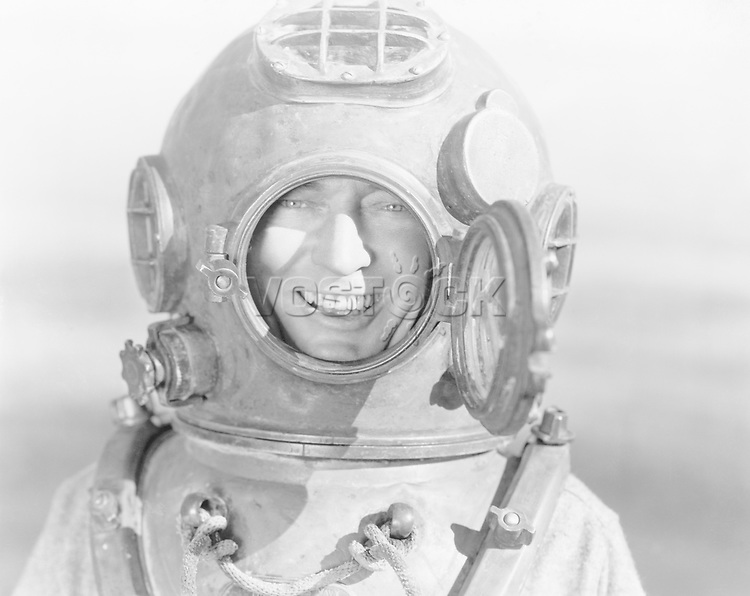 Portrait of man in diving helmet
