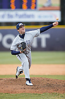 UNCG Spartans relief pitcher Blair Betts (25) delivers a pitch to the plate against the High Point Panthers at Willard Stadium on February 14, 2015 in High Point, North Carolina.  The Panthers defeated the Spartans 12-2.  (Brian Westerholt/Four Seam Images)
