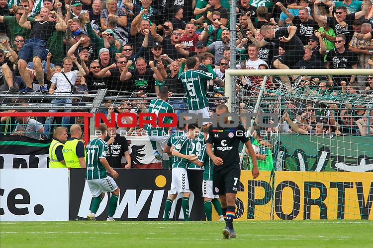 11.08.2019, Stadion Lohmühle, Luebeck, GER, DFB-Pokal, 1. Runde VFB Lübeck vs 1.FC St. Pauli<br /> <br /> DFB REGULATIONS PROHIBIT ANY USE OF PHOTOGRAPHS AS IMAGE SEQUENCES AND/OR QUASI-VIDEO.<br /> <br /> im Bild / picture shows<br /> Ahmet Arslan  (VfB Luebeck) feiert das 3:3 zusammen mit den Luebecker Fans<br /> <br /> Foto © nordphoto / Tauchnitz