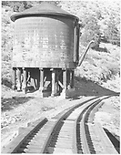 Several miles up the Monarch Branch above Poncha Jct. is the Silver Creek water tank.<br /> D&amp;RGW  Silver Creek, CO  Taken by Rogers, Donald E. A. - 6/2/1939