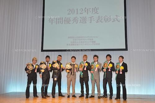 Prize winners,.JANUARY 25, 2013 - Boxing :.Japan's Boxer of the Year Award 2012 at Tokyo Dome Hotel in Tokyo, Japan. (Photo by Hiroaki Yamaguchi/AFLO)  (L to R)Naoko Yamaguchi ()Kohei Kono Takashi Uchiyama Kazuto Ioka () ()Yota Sato Toshiyuki Igarashi Shinsuke Yamanaka  KOMomo Koseki ()