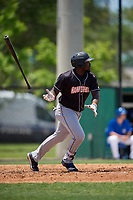 Jupiter Hammerheads Lazaro Alonso (44) hits a single during a Florida State League game against the Dunedin Blue Jays on May 16, 2019 at Jack Russell Memorial Stadium in Clearwater, Florida.  Dunedin defeated Jupiter 1-0.  (Mike Janes/Four Seam Images)