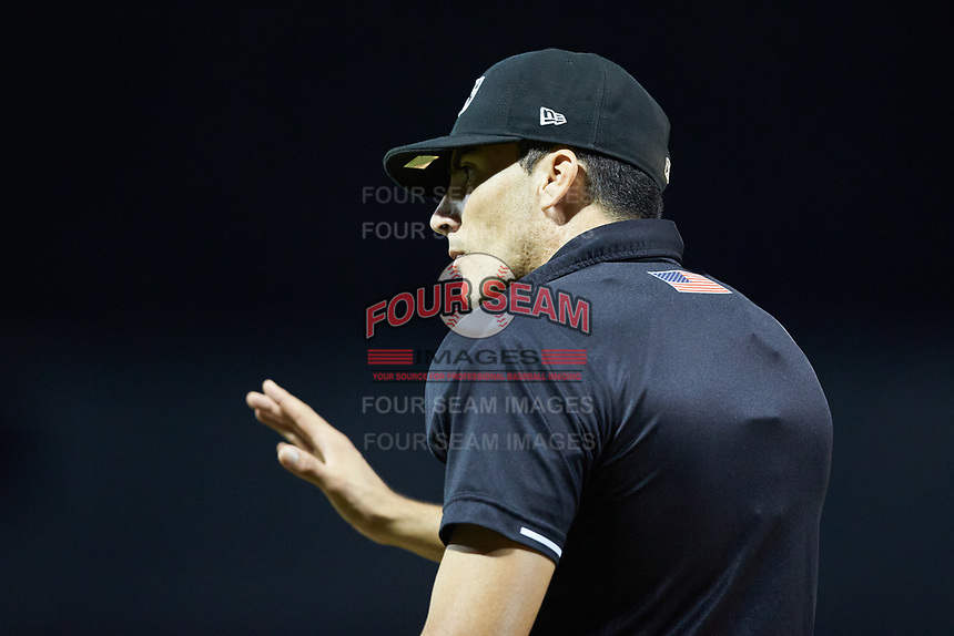 Home plate umpire Luis Avalos works the Appalachian League playoff game between the Burlington Royals and the Pulaski Yankees at Calfee Park on August 31, 2019 in Pulaski, Virginia. The Yankees defeated the Royals 6-0. (Brian Westerholt/Four Seam Images)