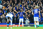 28th September 2017, Goodison Park, Liverpool, England; UEFA Europa League group stage, Everton versus Apollon Limassol; Nikola Vlasic of Everton FC celebrates his goal with the fans