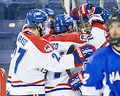 Zack Kamrass (UML - 27), Stephen Buco (UML - 11), Joseph Pendenza (UML - 14) - The University of Massachusetts-Lowell River Hawks defeated the University of Alabama-Huntsville Chargers 3-0 on Friday, November 25, 2011, at Tsongas Center in Lowell, Massachusetts.
