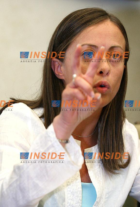 Roma, 12/09/2006 Conferenza stampa di presentazione della festa di Azione Giovani atreju 2006. Nella foto Giorgia Meloni Presidente nazionale di Azione Giovani.<br /> Photo Samantha Zucchi INSIDE