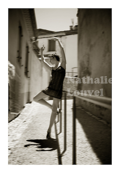 Ballet dancer rehearsing in the street