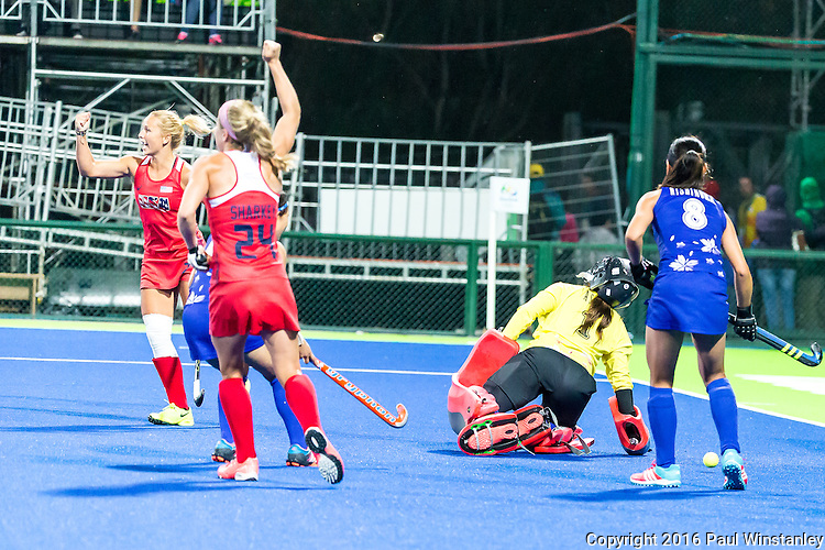 Kathleen Sharkey #24 of United States and Kelsey Kolojejchick #7 of United States react to the goal during USA vs Japan in a Pool B game at the Rio 2016 Olympics at the Olympic Hockey Centre in Rio de Janeiro, Brazil.