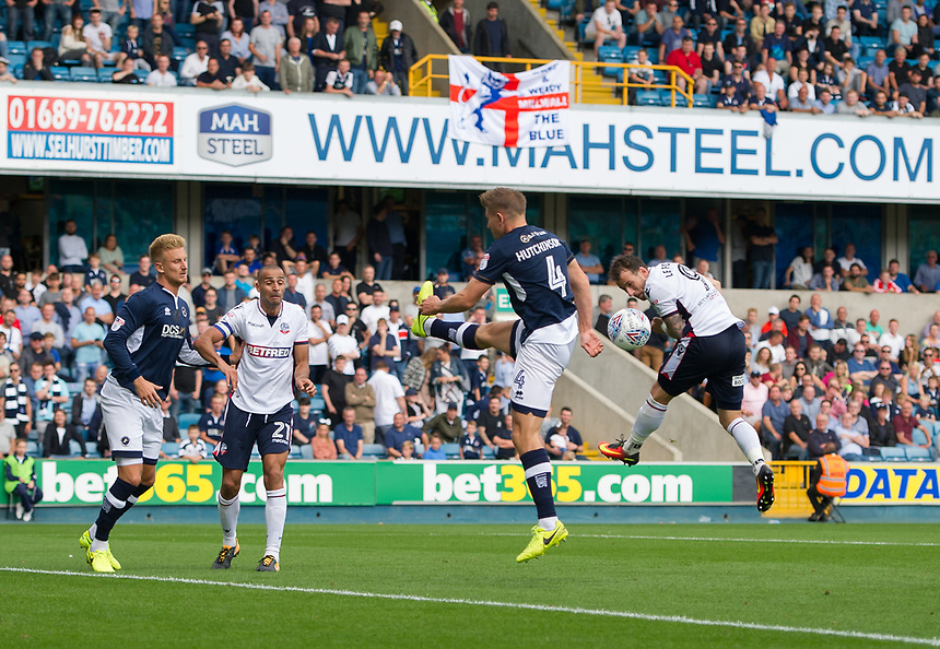 Bolton Wanderers' Adam Le Fondre heads wide in the second half<br /> <br /> Photographer Ashley Western/CameraSport<br /> <br /> The EFL Sky Bet Championship - Millwall v Bolton Wanderers - Saturday August 12th 2017 - The Den - London<br /> <br /> World Copyright &not;&copy; 2017 CameraSport. All rights reserved. 43 Linden Ave. Countesthorpe. Leicester. England. LE8 5PG - Tel: +44 (0) 116 277 4147 - admin@camerasport.com - www.camerasport.com