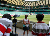 Photo: Richard Lane/Richard Lane Photography. .Emirates Airline Media training day with the England Sevens team at Twickenham. 13/05/2011. England captain, Ben Gollings is interviewed.