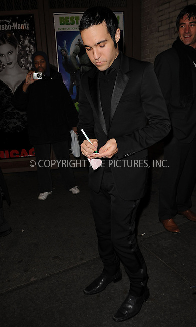 WWW.ACEPIXS.COM . . . . . ....November 30 2009, New York City....Musician Pete Wentz arriving at his wife Ashlee Simpson-Wentz's Broadway debut in 'Chicago' at the Ambassador Theatre on November 30, 2009 in New York City. ....Please byline: KRISTIN CALLAHAN - ACEPIXS.COM.. . . . . . ..Ace Pictures, Inc:  ..(212) 243-8787 or (646) 679 0430..e-mail: picturedesk@acepixs.com..web: http://www.acepixs.com