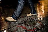 Sarajevo 09.12.2009 Bosnia and Herzegovina<br /> One of the memorial of the war in Sarajevo. It was here during the war killed 26 Bosnian civilians who were waiting in line for bread. Trace in the ground is a remnant of the explosion RPG.<br /> Bosnia and Herzegovina for many years dreamed to be adopted into the European Union. On the streets, everybody can see young and old people who looks like Europeans. Streets in the city center are also similar to European cities. Unfortunately, all people in BiH know that political disagreement between warring nationalities in the parliament does not help them to be accepted into the EU.<br /> Photo: Adam Lach / Newsweek Polska / Napo Images<br /> <br /> Jeden z pomnikow wojny w Sarajewie. To tutaj w czasie wojny zginelo 26 bosniackich cywili ktorzy czekali w kolejce na chleb. Slad w ziemi to pozostalosc po wybuchu RPG.<br /> BiH od wielu lat marzy by przyjeto ja do UE. NA ulicach widac mlodych i starszych ludzi ktory wygladaja jak europejczycy. Ulice w centrum miasta sa rownie podobne do miast europejskich. Niestety wewnetrznie wszyscy wiedza ze polityczna niezgoda pomiedzy zwasnionymi narodowosciami w parlamencie nie pomaga im na to bby przystapic do UE.<br /> Photo: Adam Lach /  Newsweek Polska / Napo Images