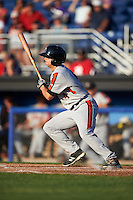 Aberdeen Ironbirds center fielder Cole Billingsley (4) at bat during a game against the Batavia Muckdogs on July 14, 2016 at Dwyer Stadium in Batavia, New York.  Aberdeen defeated Batavia 8-2. (Mike Janes/Four Seam Images)